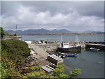 L7240 : Roundstone Harbour - the main slipway (blocked), looking north towards the Twelve Bens by Keith Salvesen