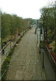 SK3455 : Rails and wires at Crich Village Tramway by P L Chadwick