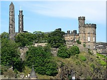 NT2674 : Buildings on Calton Hill from North Bridge by J W Wagner