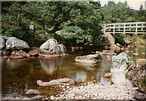 NM8363 : Strontian River and footbridge by Peter Bond