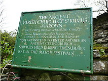 SC3278 : Sign at St. Runius Church Marown by Phil Catterall