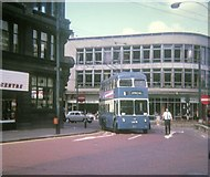 SE1633 : Bradford trolleybus in city centre by David Hillas