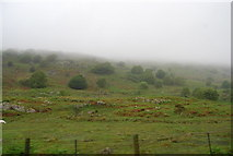 NY1700 : Fells in mist near Boot by N Chadwick