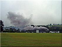 SN4124 : Steam train passing Bronwydd cricket field by Robert Davies