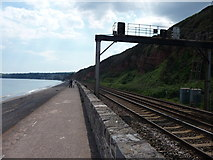 SX9777 : Dawlish Warren : Coastal Path & Railway by Lewis Clarke