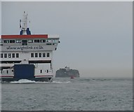 SZ6397 : Wightlink Ferry passes the Spit Sand Fort by Sarah Charlesworth
