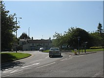 SH5571 : The roundabout at the Anglesey end of the Menai Bridge by Eric Jones