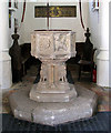 TG2202 : The church of St Remigius - C15 baptismal font by Evelyn Simak