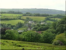 SS6644 : Parracombe church and surrounding countryside. by Roger A Smith