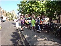 TQ3680 : Cyclists' Breakfast, Narrow Street, E14 by Danny P Robinson