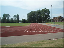 TQ4209 : Running Track - Lewes Leisure Centre by Paul Gillett