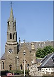 NO8785 : Steeple of the catholic church in old Stonehaven by Stanley Howe