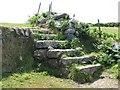 SW4337 : Granite stile on the path to Gurnard's Head by Sarah Charlesworth