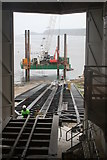 SW3526 : The new lifeboat launching slipway by Rod Allday