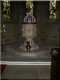 SE1223 : The Parish Church of St Anne in the Grove, Southowram, Font by Alexander P Kapp