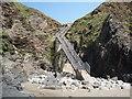 SM8032 : Traeth Llyfn beach: the stairs down to the beach by Keith Salvesen