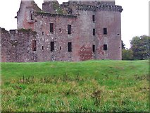 NY0265 : Grassy area at the back of Caerlaverock Castle by Ann Cook