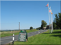 NT9529 : Flags at Akeld Manor by Stephen Craven