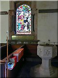 NY5455 : Font and window, St. Peter's Church by Rose and Trev Clough