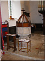 TM4269 : The Font of All Saints Church, Darsham by Geographer
