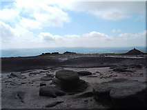 SK0787 : Cairn south west of trig point at Kinder Low by Peter Barr