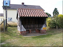 TM4160 : Friston Bus Shelter & Friston Village Sign by Geographer