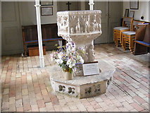 TM3959 : The Font of St.John the Baptist Church, Snape by Geographer