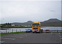 NG2547 : Wind farm truck in Dunvegan car park by Richard Dorrell