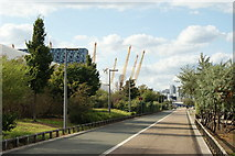 TQ3979 : Cycle Path Near the Millennium Dome by Peter Trimming