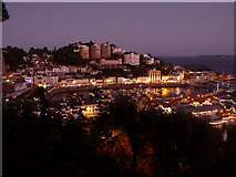 SX9163 : Torquay: nightfall over the harbour by Chris Downer