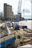 TQ3680 : Construction at Canary Wharf by Peter Trimming