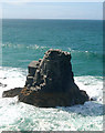 SW8573 : Sea stack south of Treyarnon Bay by Andy F