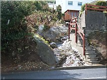 J3829 : A hill-side rill disappearing beneath the A2 Kilkeel Road by Eric Jones