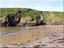 X6498 : Beach and cliffs at Ballymacaw Cove by David Hawgood