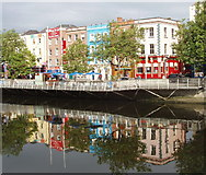 O1534 : Liffey North Bank and reflections from O'Connell Bridge by David Hawgood