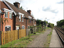 TM4598 : Cottages at Haddiscoe railway station by Evelyn Simak