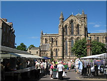 NY9364 : Hexham Market Place and Abbey by Mike Quinn