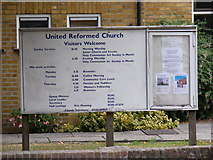TL7205 : Great Baddow United Reformed Church Notice Board by Adrian Cable