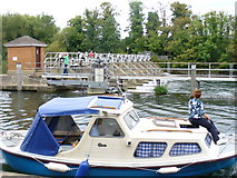 TQ0172 : Weir by Bell Weir Lock by Colin Smith
