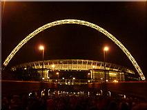 TQ1985 : Wembley: the stadium floodlit by Chris Downer