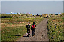 NU0445 : An access road at Goswick Golf Course by Walter Baxter