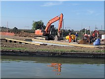 SP9122 : At work on the new marina, Grove Lock, Grand Union Canal by Chris Reynolds