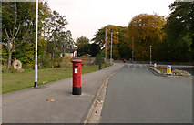 SJ8588 : Red pillar-box on Broadway, Cheadle by Geoff Royle