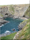 SW8572 : Cove near Porthcothan by Philip Halling