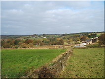 SK3359 : Grazing land and houses on Nottingham Road, Tansley by Peter Barr