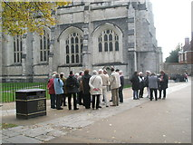 SU4829 : Guided tour at Winchester Cathedral by Basher Eyre