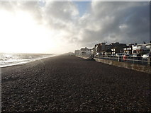 TQ7306 : Looking west along Bexhill seafront shingle by Jeremy Bolwell