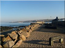 NJ6864 : Banff Harbour Wall and Macduff by John Forret