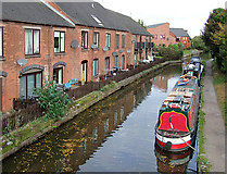 SK0418 : Canal-side housing at Rugeley, Staffordshire by Roger  Kidd