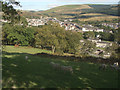 SS8594 : Grazing land and a view over Caerau by eswales